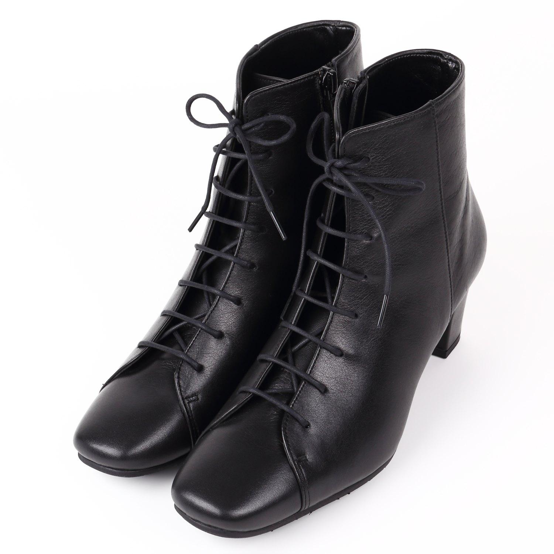 WithWidth編み上げブーツ ブラック
